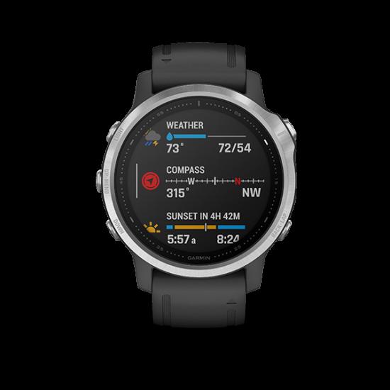 Garmin Fenix 6S Silver with Black Band นาฬิกา GPS มัลติสปอร์ตพรีเมี่ยมขนาดกระทัดรัด
