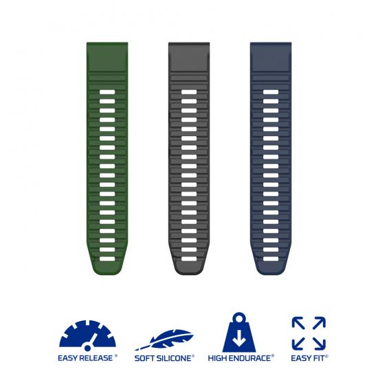 Garmin Fenix 6 / 5 / 5 Plus (2020/ QuickFit 22) - Silicone Band (TSM Band) สายซิลิโคนสำหรับ Fenix 6 / 5 / 5 Plus / FR745 / FR935 / FR945 / S62 / S60 (Premium)